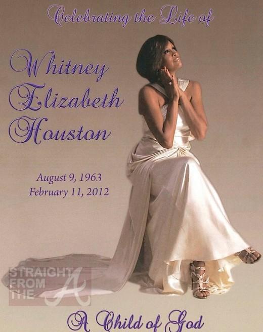 Whitney Houston Homegoing Funeral Program Official