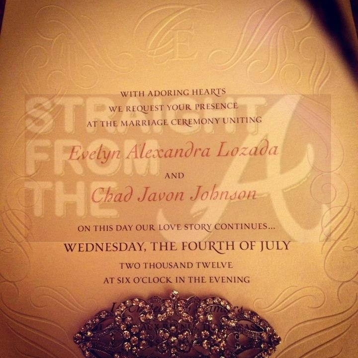 Evelyn Lozada Chad Johnson Wedding Date Invitation 2012 StraightFromTheA
