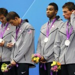 Nathan Adrian, Michael Phelps, Cullen Jones and Ryan Lochte of the U.S. stand with their silver medals in the men&#039;s 4x100m freestyle relay victory ceremony during the London 2012 Olympic Games at the Aquatics Centre