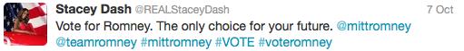 stacey dash romney tweet