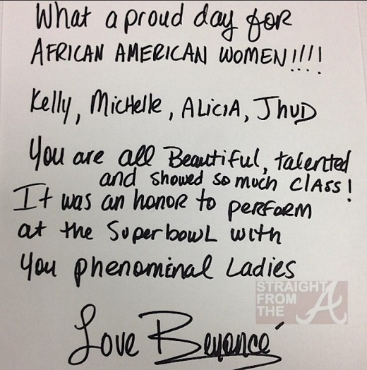 Beyonce Superbowl 2013 letter