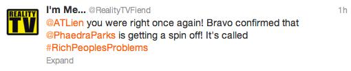 Reality TV Tweet