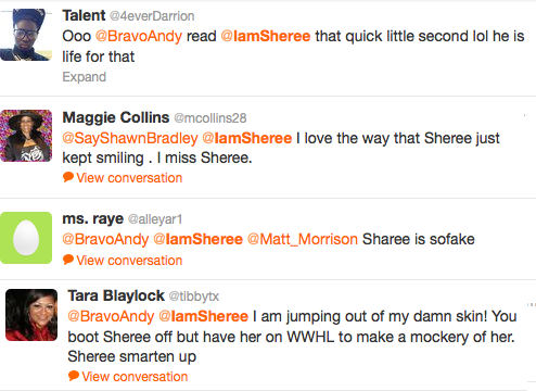 Sheree Trending WWHL Tweets