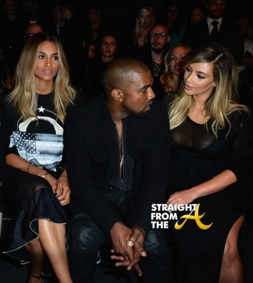 Ciara Kanye Kim K Givenchy Front Row Paris Fashion Week PFW 2013 1