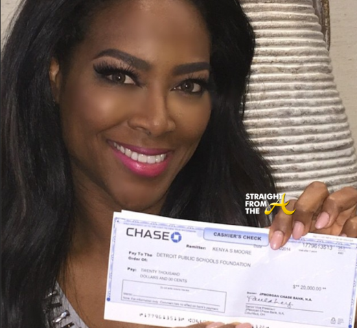 Instagram Flexin – #RHOA Kenya Moore Cuts $20,000 Check to Detroit Public Schools….