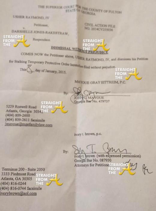 Usher v. Darshelle Jones Rakestraw - Dismissal