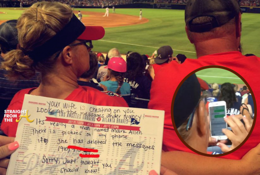 Cheating Wife Letter Braves Game
